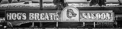 Conch Photograph - Hog's Breath Saloon 1 Key West - Black And White by Ian Monk
