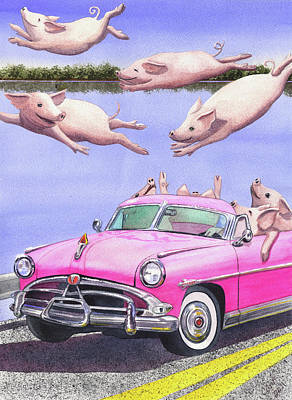 Flying Pig Painting - Hogs In A Hot Pink Hudson Hornet by Catherine G McElroy