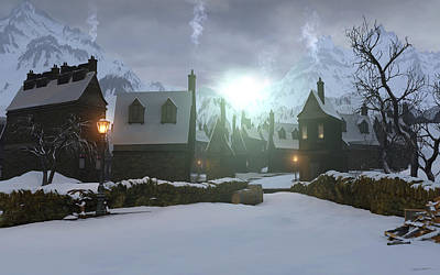 Snow Digital Art - Hogsmeade by Cynthia Decker