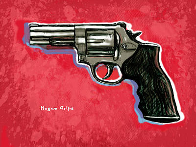 Hogue Grips Hang Gun - Stylised Art Drawing Sketch Art Print by Kim Wang