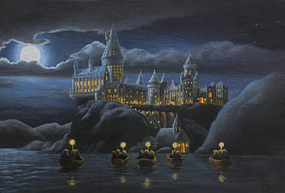 Castle Painting - Hogwarts At Night by Karen Coombes