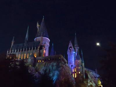 Photograph - Hogwarts Castle At Night by Kathy Long
