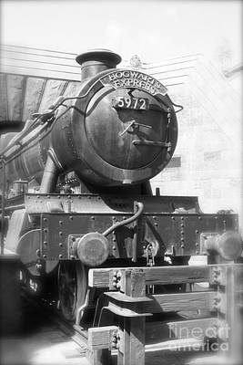 Hogwarts Express Train Closeup Black And White Art Print
