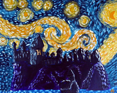Outsider Painting - Hogwarts Starry Night by Jera Sky