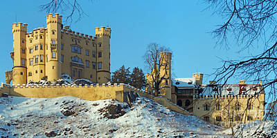 Hohenschwangau Castle Panorama In Winter Art Print by Rudi Prott
