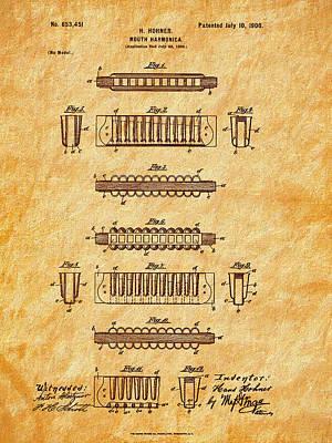 Photograph - Hohner Harmonica 1900 Patent Art by Barry Jones