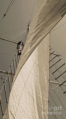 Photograph - Hoisting The Mainsail In Sepia by Jani Freimann
