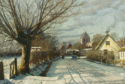 Cottage Country Painting - Hoje Taastrup Church Outside Copenhagen by Peder Monsted