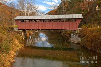 Photograph - Hokes Mill Covered Bridge Reflections by Adam Jewell