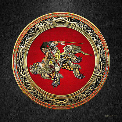 Digital Art - Hokusai - Shoki Riding Shishi Lion On Black  by Serge Averbukh