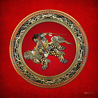 Digital Art - Hokusai - Shoki Riding Shishi Lion On Red  by Serge Averbukh