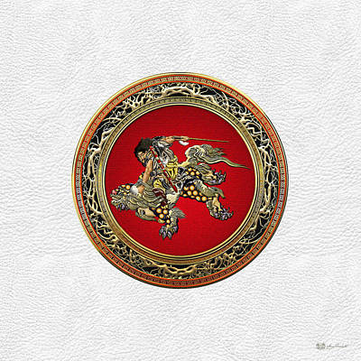 Digital Art - Hokusai - Shoki Riding Shishi Lion On White Leather  by Serge Averbukh