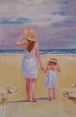 Little Girl On Beach Painting - Hold On by Laura Lee Zanghetti