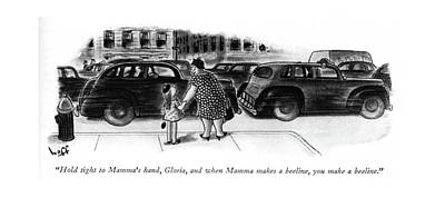 Street Car Drawing - Hold Tight To Mamma's Hand by Sydney Hoff