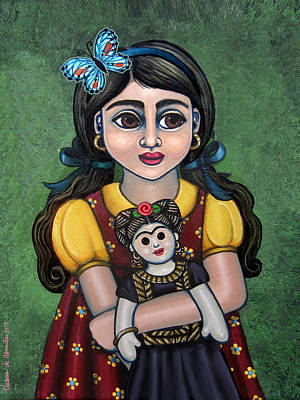 Rag Doll Painting - Holding Frida With Butterfly by Victoria De Almeida