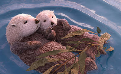 Otter Painting - Holding Hands by Gary Hanna