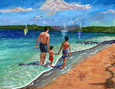 Holding Hands Art Print by Laura Forde