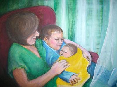 Painting - Holding His New Baby Brother by Martha Suhocke