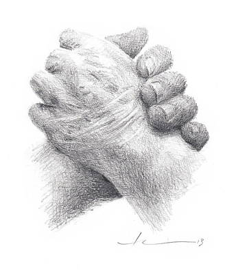 Drawing - Holding Moms Hand Pencil Portrait by Mike Theuer