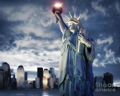 Statue Of Liberty At Night Photograph - Holding Your Torch by Edmund Nagele