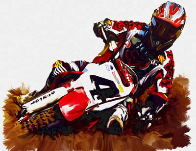 Painting - Hole Shot Ricky Carmichael by Iconic Images Art Gallery David Pucciarelli