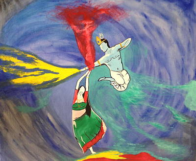Holi Painting - Holi Dance_radhe Krishna by Suresh Krishnaswamy