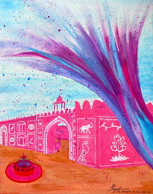 Painting - Holi In Jaipur India by Artistic Indian Nurse