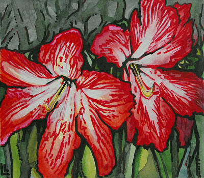 Painting - Holiday Amaryllis by Lindi Levison