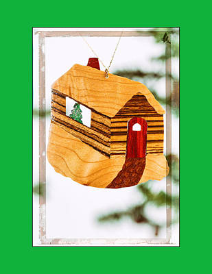 Photograph - Holiday Cabin Art Ornament In Green by Jo Ann Tomaselli