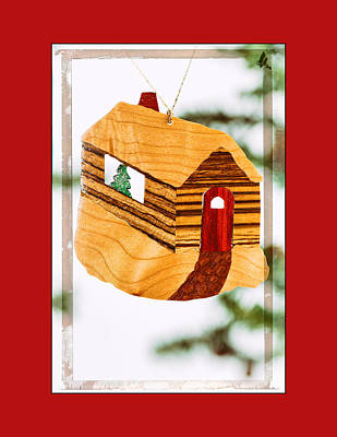 Photograph - Holiday Cabin Art Ornament In Red by Jo Ann Tomaselli