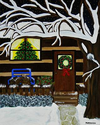 Art Print featuring the painting Holiday Cabin by Celeste Manning