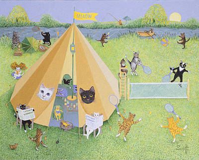 Holiday Camp Oil On Canvas Art Print