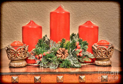 Photograph - Holiday Candles Vintage by Donna Greene