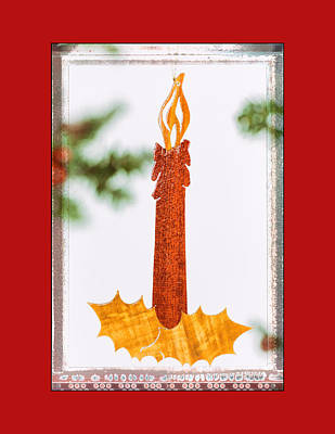 Photograph - Holiday Candlestick Art Ornament In Red by Jo Ann Tomaselli