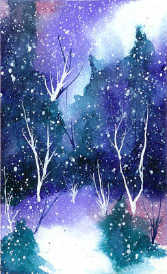 Winter Solstice Painting - Holiday Card 13 by Nelson Ruger