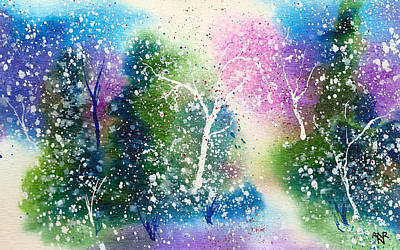 Winter Solstice Painting - Holiday Card 15 by Nelson Ruger