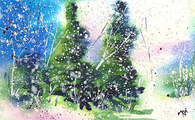 Christmas Card Painting - Holiday Card 19 by Nelson Ruger