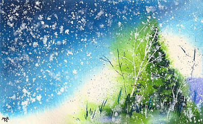 Winter Solstice Painting - Holiday Card 23 by Nelson Ruger