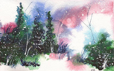 Winter Solstice Painting - Holiday Card 25 by Nelson Ruger