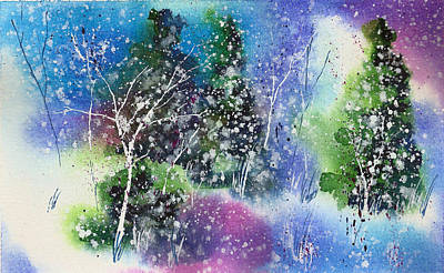 Winter Solstice Wall Art - Painting - Holiday Card 26 by Nelson Ruger