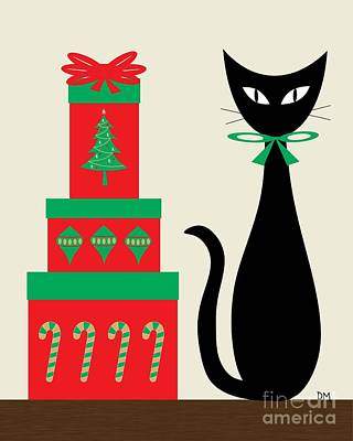 Christmas Digital Art - Holiday Cat 2 On Cream by Donna Mibus