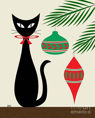 Holiday Cat On Cream Art Print