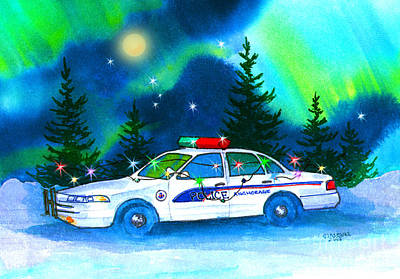 Enforcement Painting - Holiday Cheer For Our First Responders by Teresa Ascone
