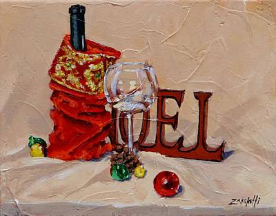Wine Bottle Painting - Holiday Cheer by Laura Lee Zanghetti