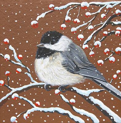 Painting - Holiday Chickadee by Jennifer Lake