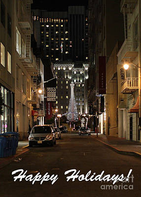 Photograph - Holiday Christmas Card . Maiden Lane San Francisco by Wingsdomain Art and Photography