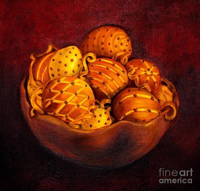 Holiday Citrus Bowl  Art Print by Iris Richardson