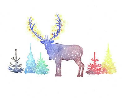 Winter Watercolor Painting - Holiday Elk by P.s. Art Studios