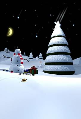 Winter Night Digital Art - Holiday Falling Star by Cynthia Decker