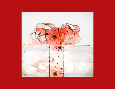 Photograph - Holiday Glass Gift Box II With Red Bow In Red by Jo Ann Tomaselli